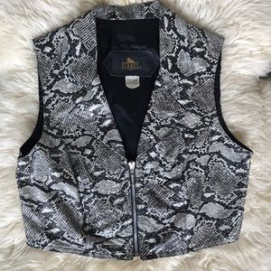 Vintage Jackets & Coats - VTG Leather Python Snake Print Zip Up Vest Biker